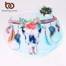 Beddingoutlet черепа летние пляжные Полотенца с цветочным принтом Ванны Полотенца круглый Одеяло с кисточкой Йога Коврик 146 см тонкий и легкий