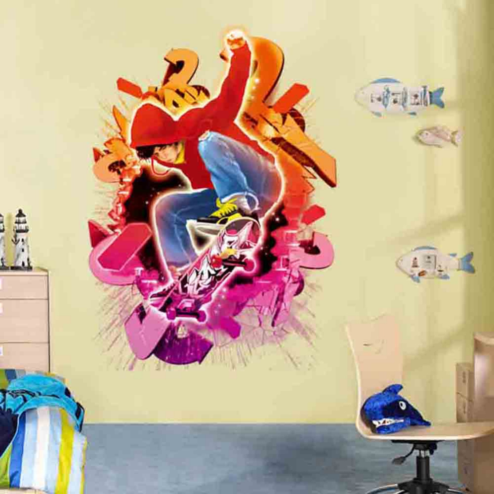 Online Shop Hot Sale Creative Skater Boy 3D Wall Stickers Dynamic ...
