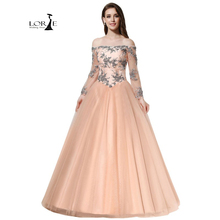 Vestidos De Graduacion 2017 Long Sleeves Lace-up A-line LORIE Lace Appliques with Beaded Wedding Party Dress Off Shoulder