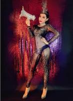 Модный сексуальный женский комбинезон, черные комбинезоны наряд со стразами, блестящий праздничный костюм с головным убором, комбинезоны,