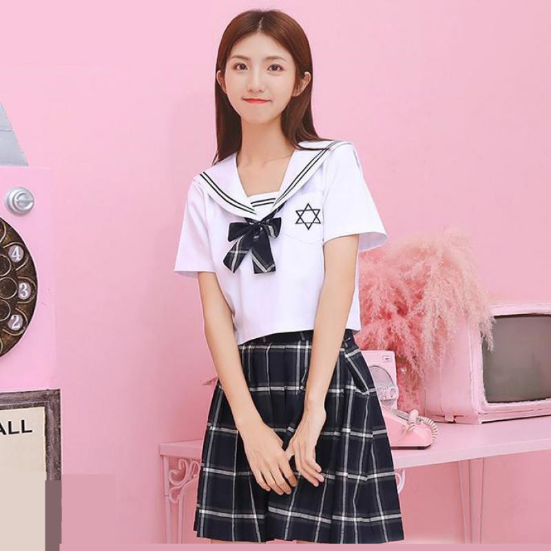 School Uniforms Jk Short-sleeved Shirt Skirt College Female Anime Cosplay Student Girl Sailor Suit Uniform Navy Sailor Suit XXXL