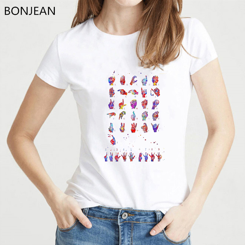 New Harajuku Women T-shirt Colorful ASL Sign Language Alphabet Watercolor Print T Shirt Femme Girl Casual Tops Summer Tshirt