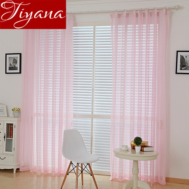Plaid Curtains Pink Curtains Window Living Room Kitchen Curtains Tulle White  Sheer Voile Gray Curtians Cortinas