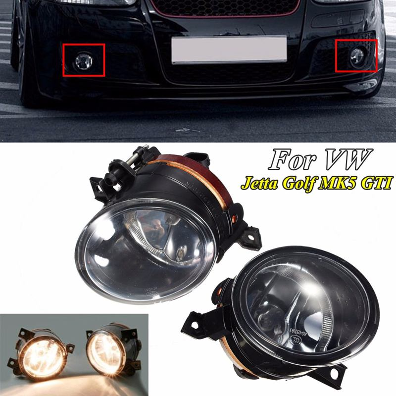 2Pcs 55w Left Right Fog Light Front Bumper Driving Fog Lights Lamp For VW MK5 Golf Jetta 2005-2010 Car Styling runmade 1pair fog lights for 2006 2010 vw passat b6 3c clear lens front fog lamp driving lamp left