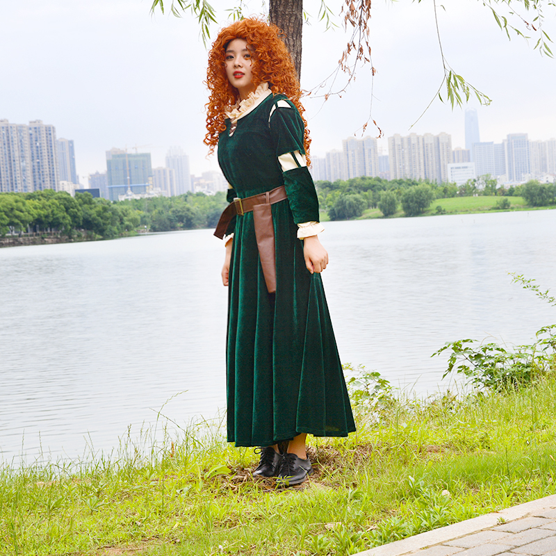 High quality Brave film Princess Merida Costume Cosplay dress Outfit Halloween party princess cosplay clothes Christmas Gift