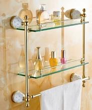 O envio gratuito de Banho Shampoo Prateleira Latão Acabamento de Ouro Com Vidro, Dupla Camada Prateleira de Vidro prateleira do banheiro
