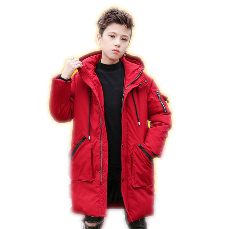 2018 Winter Children Cotton Padded Hooded Jackets Big Boys Down Cotton Long Coats Teenage Warm Thickening Outerwear Clothing P84