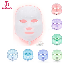 7 Color TOP BEAUTY LED Photon Facial Mask Wrinkle Acne Removal Face Skin Rejuvenation Therapy Spa Beauty Mask Rechargeable цена