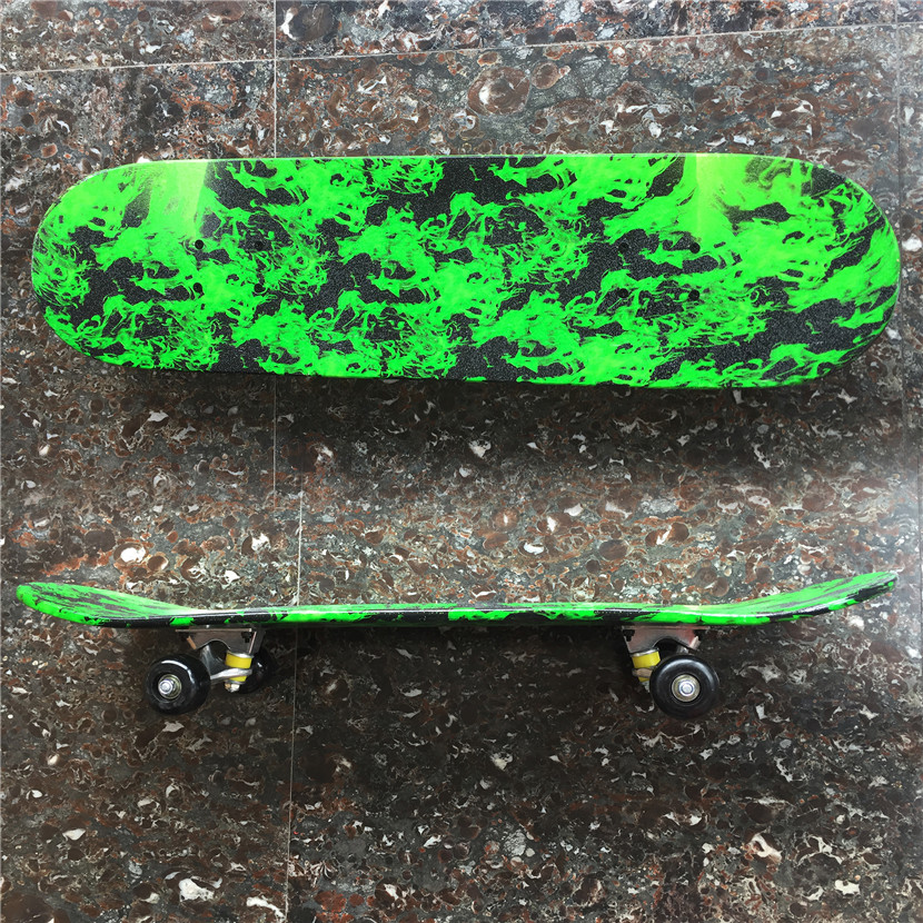 Green Forest Pattern Skateboard Complete Set With Trucks, Wheels&Bearings for Kids and New Skaters Free Shipping - 3