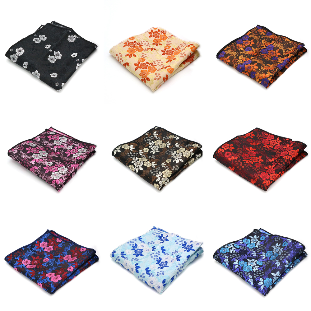 Luxury Men's Polyester Silk Hanky Floral Flower Printing Handkerchief Pocket Square Groom Wedding Party Chest Towel Hankies Gift