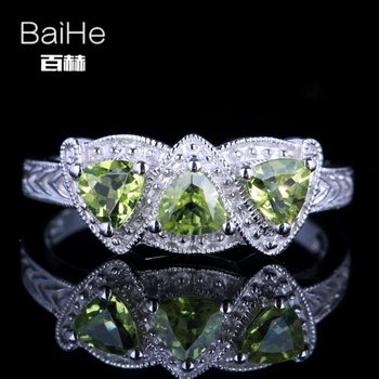 BAIHE Sterling Silver 925 0.66CT Certified Trillion cut 100% Genuine Peridot Anniversary Women Classic Fine Jewelry Ring