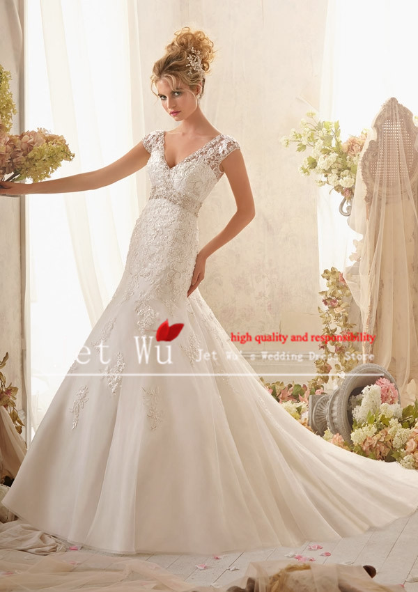 2014 new arrival sexy mermaid v neck wide shoulder straps for Wedding dresses for broad shoulders