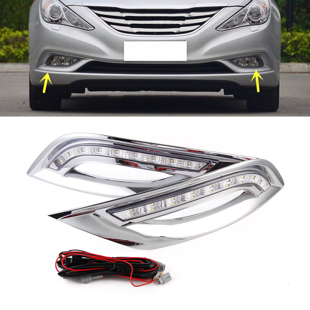 Auto Car LED DRL Daytime Running Light Driving Lamp Day Light For Hyundai Sonata 8 11