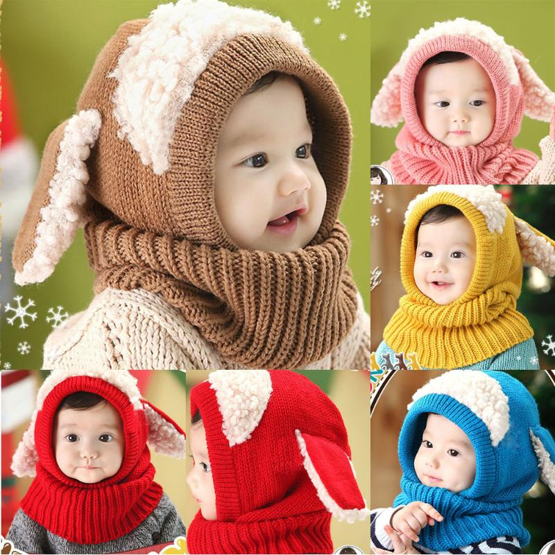 Winter Rabbit Ear Kids Baby Hats Cute Cartoon Girls Boys Rabbit Long Ear Beanie Cap Warm Baby Hat+Hooded Knitted Scarf Set doubchow adults womens mens teenages kids boys girls cartoon animal hats cute brown bear plush winter warm cap with paws gloves page 7