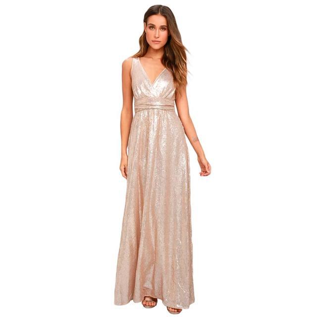 f2b1a38120 MINSUNDA New Sexy Deep V Neck Sequined Party Dress Brief Lady Open Back  Maxi Dress Women