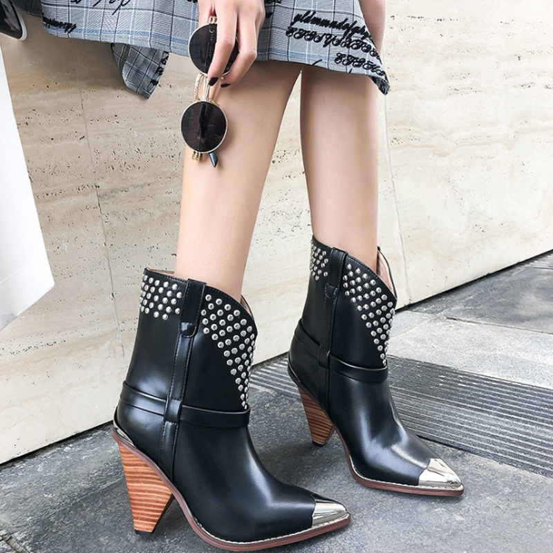 WETKISS Studded Genuine Leather Punk Boots Women Rivet Metal Pointed Toe Ankle Boots Femme Wood Spike Heels High Western ShoesWETKISS Studded Genuine Leather Punk Boots Women Rivet Metal Pointed Toe Ankle Boots Femme Wood Spike Heels High Western Shoes