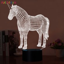 Beautiful 3D LED Unicorn Night Lights LED 3D Touch Button Table Desk Lamp 3D 7 Colors Flashing Lamp as Home Decorations Lights