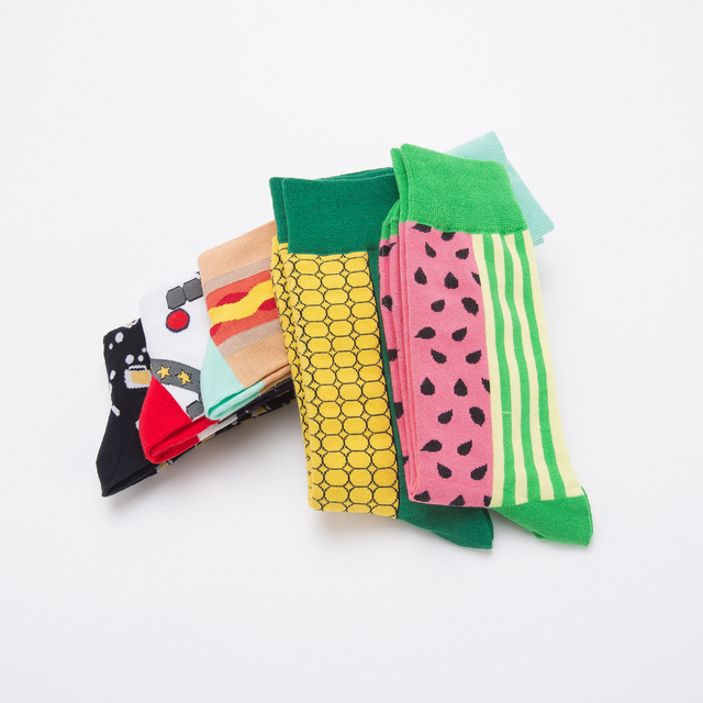 Jhouson 1 pair Colorful Men's Cotton Crew Funny Socks Watermelon Corn Spaceman Pattern Novelty Skateboard Socks For Gifts 3