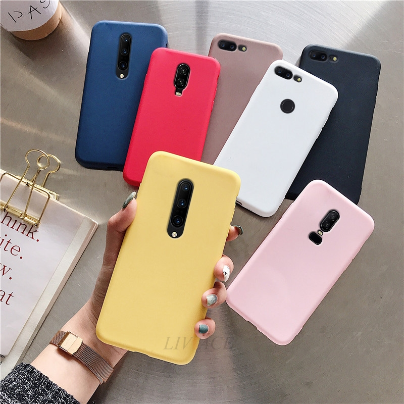 Matte Candy Color Silicone Phone Case On For Oneplus 6 6t 5 5t 7 Pro Pt Red Black Tpu Back Cover Fundas Cases For One Plus 6 5