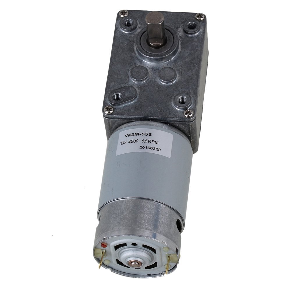5.5RPM Right Angle High Torque Turbo 24V Electric Worm Geared DC Motor with Metal Output Shaft
