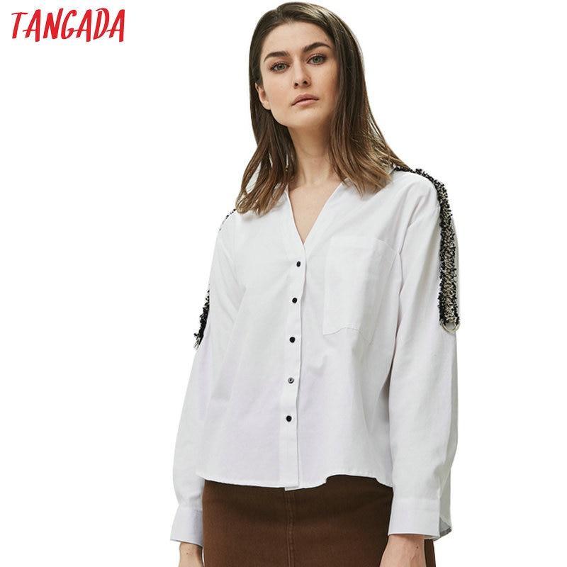 Tangada femmes côté rayé blouses bureau dame à manches longues col rabattu chemises blanc femme hauts blusas BE335