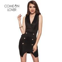 RI80165 Comeonlover Women Summer Dress Sleeveless Double Breasted Chic Female Dresses Brazil V-neck White Black Blazer Dresses