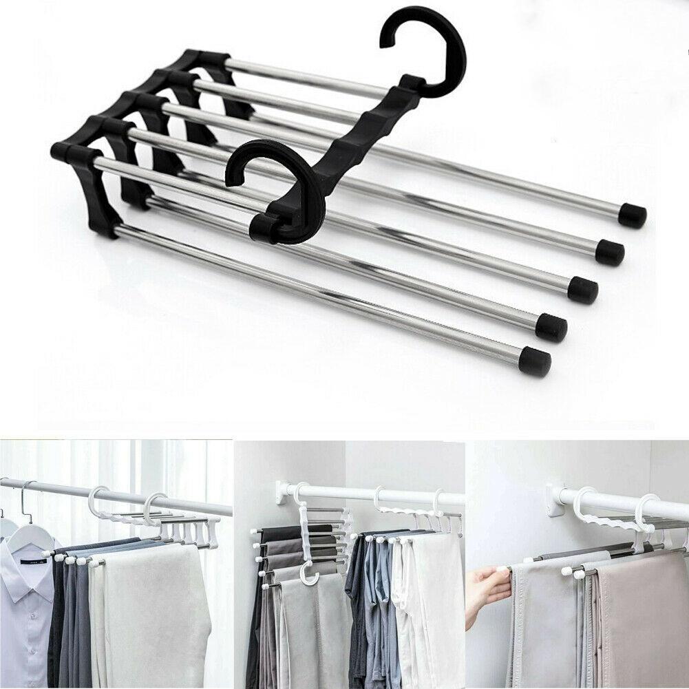 Pants rack shelves Stainless Steel Multi-functional Wardrobe Magic Hanger New