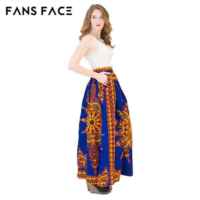 bf132c95f5d7 African Traditional Print Blue Long Skirts Custom Made A Line Floor Length  Skirts For Office Ladies Formal Party Maxi Skirts