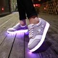 8 Cores LED Luminoso Suede Shoes 2016 de Moda de Nova Mulheres sapatos Zapatillas Sapatos Emitindo Luzes de Carregamento USB Plana