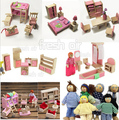 Children wood dollhouse  6 sets pink miniature wood dollhouse furniture with 6pcs dolls for kids toys