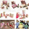 Crianças de móveis casa de bonecas de madeira em miniatura casa de bonecas de madeira 6 conjuntos rosa com 6 pcs bonecas para crianças brinquedos