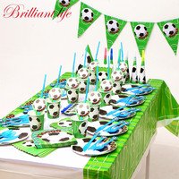 Green Football Theme 127pcs/lot Festival Boys Birthday Party Paper Cup Plate Straw Gift Bag Baby Shower Blowout Cap Supply