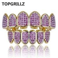 New Custom Fit Hip Hop Gold Teeth Grillz Caps Micro Pave Fuchsia Cubic Zirconia Top Bottom