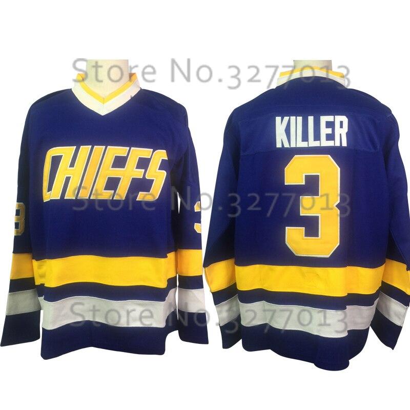 2018 оптовая продажа Форма для хоккея начальников воротам Дэйв #3 Убийца Карлсон чарльстаун Джерси Ретро прошитой мужские ретро льда носить