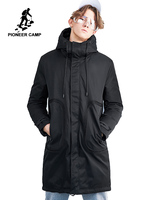 Pioneer camp new winter long down jackets men brand clothing casual warm thick down parkas quality hooded jacket coats AYR801437