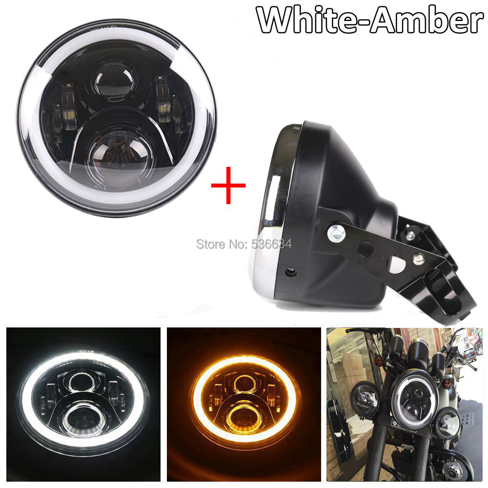 7inch LED Headlight Angel eyes color White&Amber & Headlight Shell Daymaker Housing Bucker for Harley Davidson Heritage Softail motorcycle 7inch led protection headlight angel eye white drl amber turning color 4 5inch led fog light for harley davidson