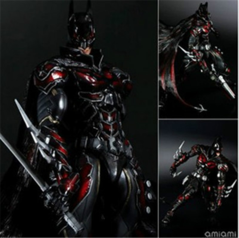Play Arts Kai Bat Man NO 1 Bat-man Figure Red Edition Bruce Wayne 27cm Variant Play Art KAI PVC Action Figure Doll Toys Kid Gift super street fighter iv akuma gouki white variant play arts kai action figure