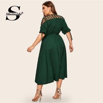 Sheinside Plus Size V Neck Contrast Mesh Dress Women Elegant Cuff Lace Up Belted Dresses 2019 Summer Half Sleeve Midi Dress 2