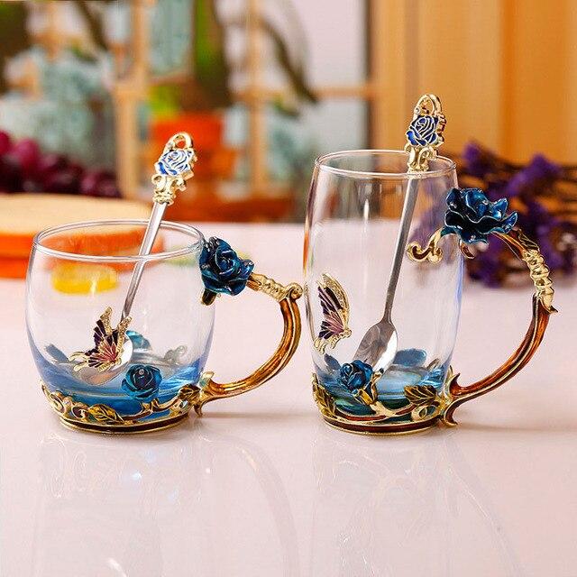 Эмалированная кофейная чайная чашка кружка 3D Роза бабочка стеклянные чашки свадебный подарок новинка элегантная чашка с резьбой ложкой BDF99