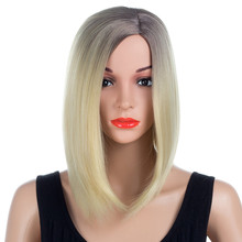 Aigemei Bob Wig For Woman 180% Density 14 Inch 200g Synthetic Wigs Short With Baby Hair