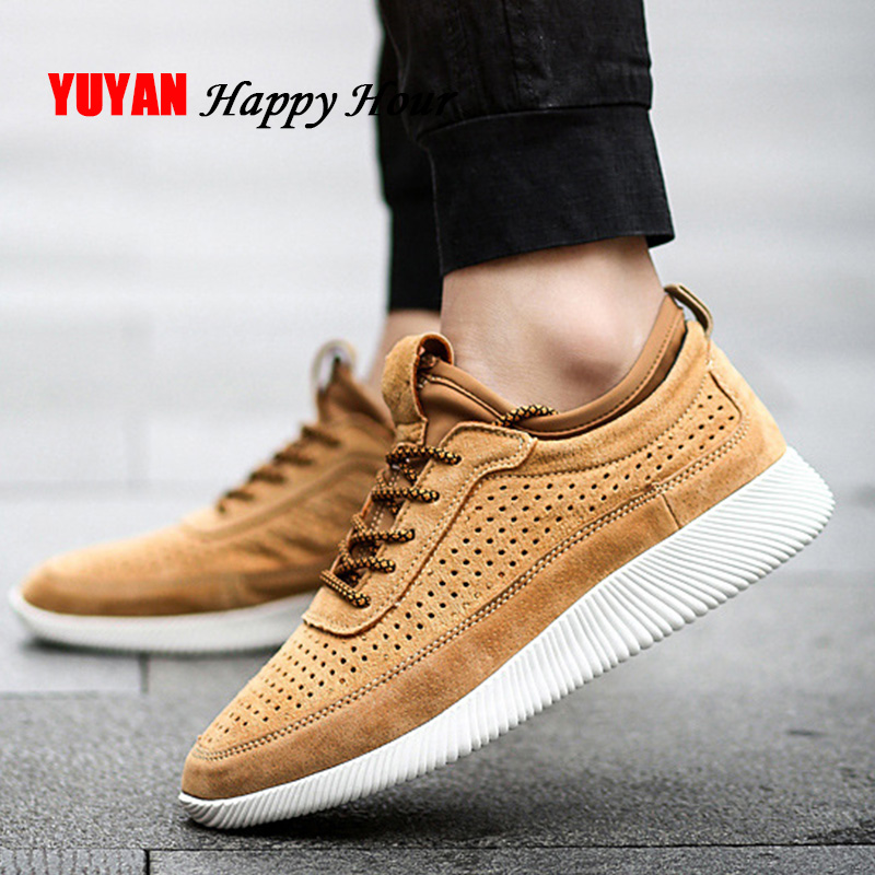 Genuine Leather Men Sneakers 2020 Spring Summer Men Shoes Breathable Brand Men Casual Shoes Thick Soft Outsole KA1170