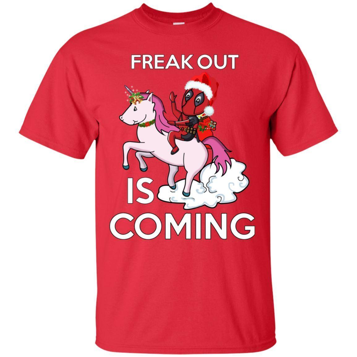 Dibujos Impresionantes De Navidad.Impresionante Camisa De Navidad Divertida Deadpool Navidad Freak Out Is Coming Camiseta Ropa De