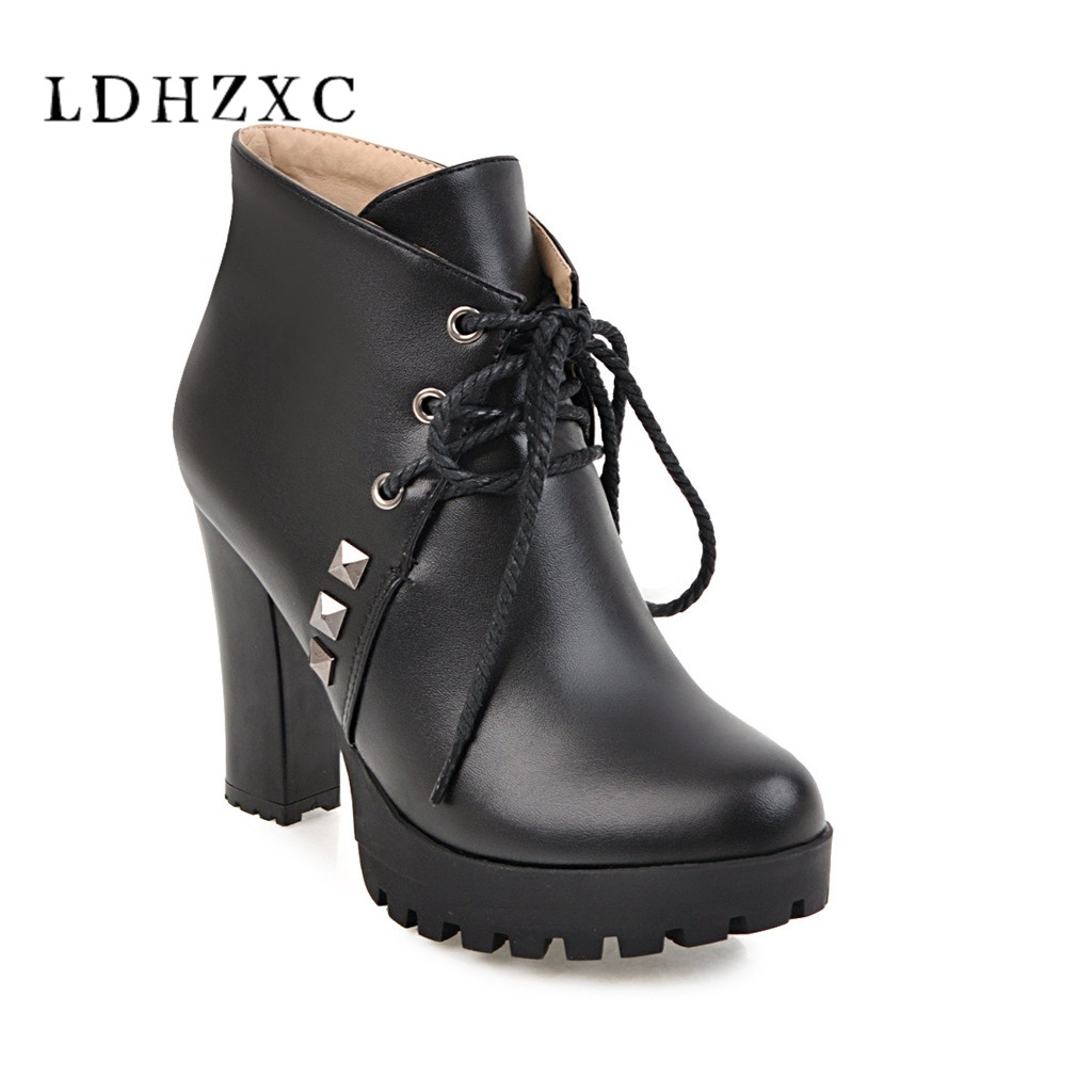 TXCNMB 2018 new Asumer autumn winter new arrive women boots square heel ankle boots lace up platform ladies boots plus size 11 9 mulinsen new arrive 2017 autumn winter men