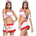 Ropa Cosplay traje Atractivo de la Enfermera de Las Mujeres disfraces eróticos lencería sexy Halter neck uniforme Tanga falda Del Corsé de la liga