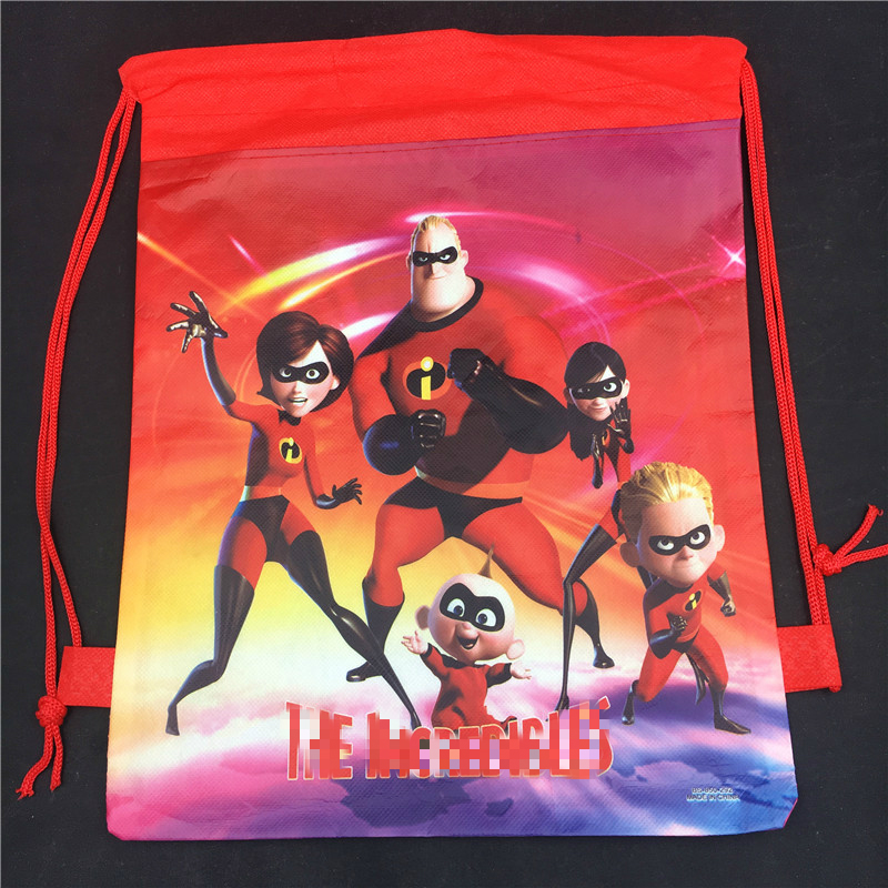1PCS Cartoon Film The Incredibles Non Woven Fabric Drawstring Bags For Super Dad Mom Kids gift Bag Children School in Gift Bags Wrapping Supplies from Home Garden
