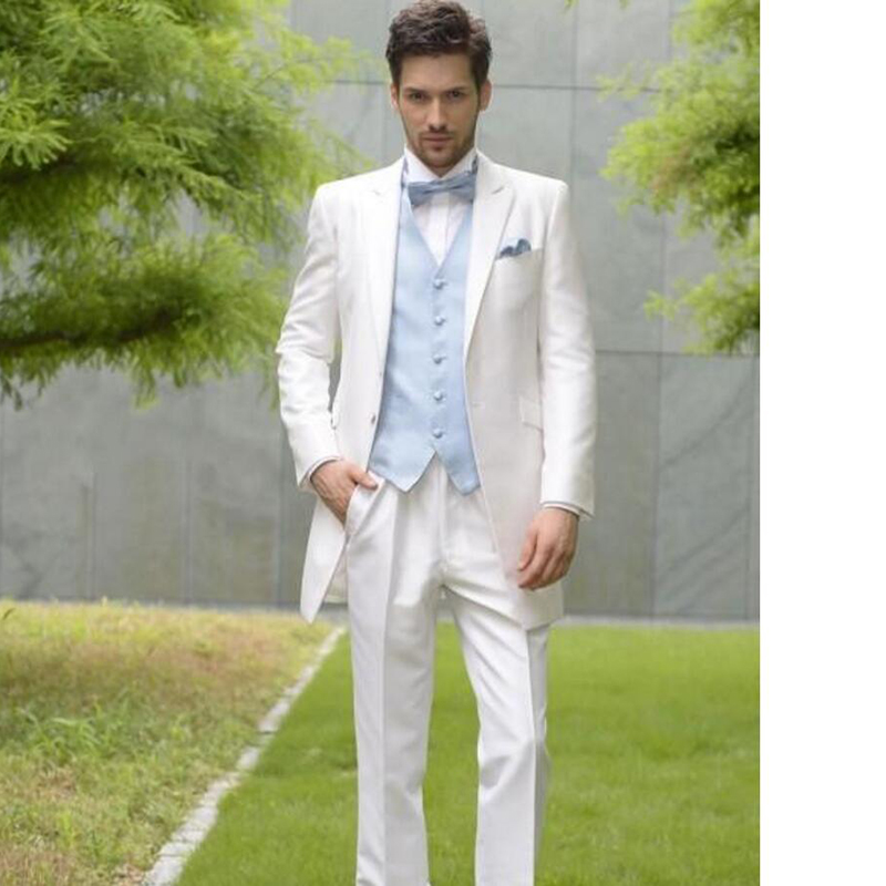 Groomsman Wedding Party Men Suit White One Button Notch Lapel Groom Tuxedos Wedding Party Mens Suits (Jacket+Pants+vest+Tie)