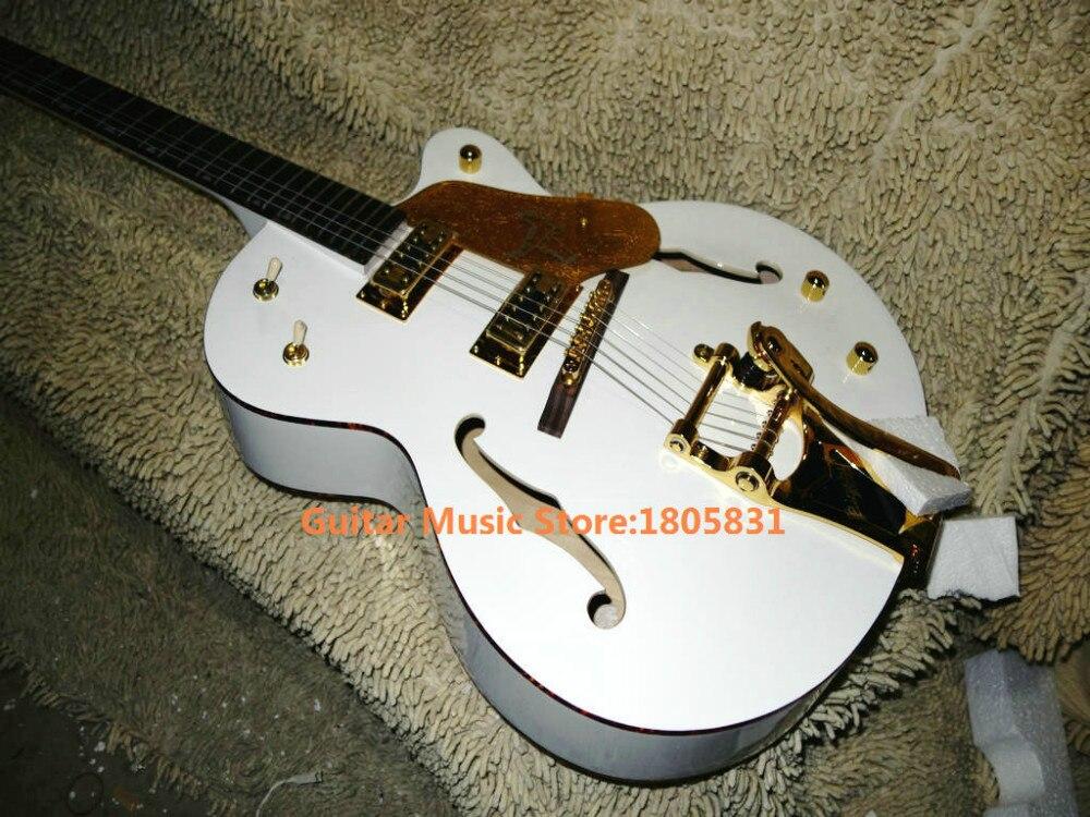 White Custom Shop Falcon 6120 Hollow Jazz Guitar with Bigbys Gold Hardware OEM Guitars