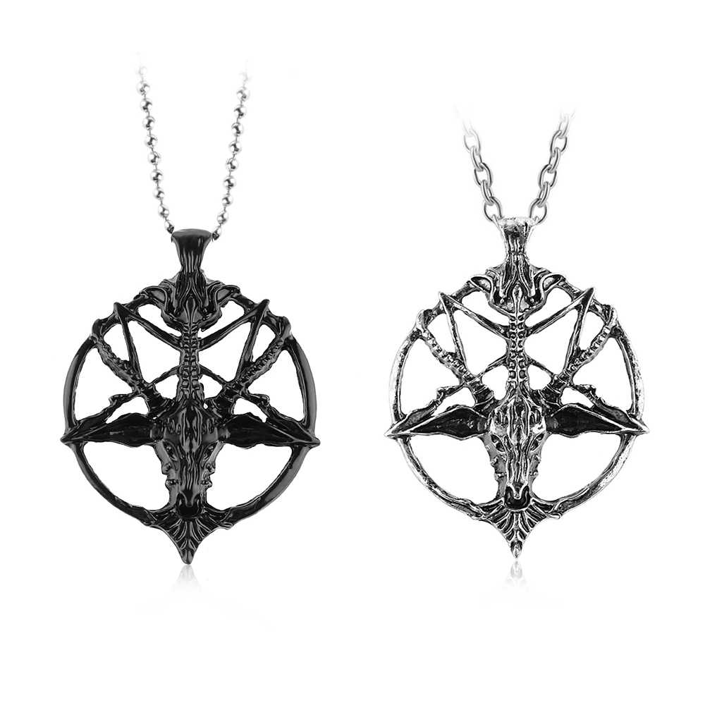 1Pcs Fashion Retro Pentagram Pan God Skull Goat Head Pendant Necklace Luck Satanism Occult Metal Vintage Silver Star Necklace