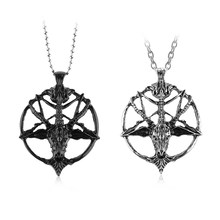 1Pcs Fashion Retro Pentagram Pan God Skull Goat Head Pendant Necklace Luck Metal Vintage Silver Star Necklace(China)