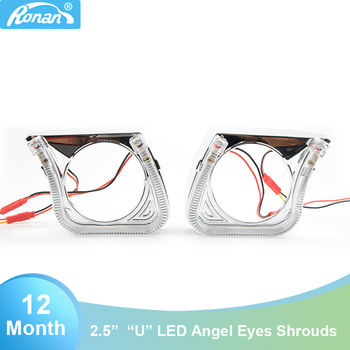 RONAN  2.5″ Bi-Xenon Projector Lens LED Integrated Shrouds shells White Angel Eyes Masks DRL for For MONDEO SUBARU FORESTOR STI
